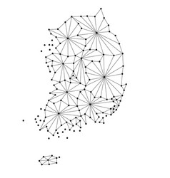 South korea map of polygonal mosaic lines network vector