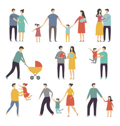 stylized of happy family adults and vector image
