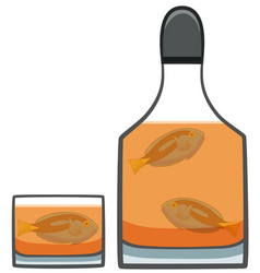 Surgeonfishes inside bottle with whiskey vector