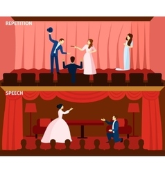 Theater performance 2 flat banners composition vector image