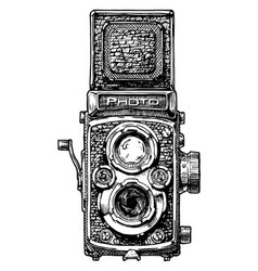 twin-lens reflex camera vector image