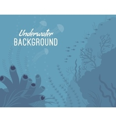 Underwater background template with sea sponge vector image