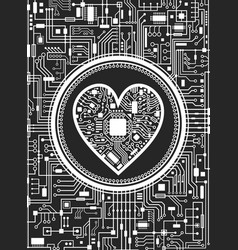 valentines day black and white background with vector image