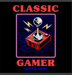 Vintage joystick for play retro video arcade game vector