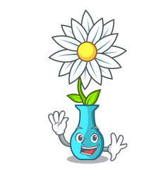 Waving character cartoon glass vase with flowers vector