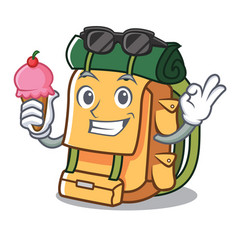 with ice cream backpack character cartoon style vector image