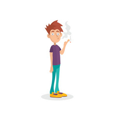 Young man standing and smoking cigarette guy with vector