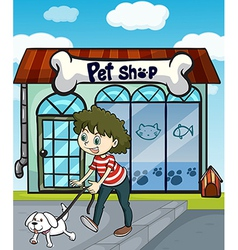A smiling girl with dog and a pet shop vector image