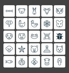 animal icons set collection of ladybird trunked vector image vector image