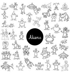 cartoon alien fantasy characters big set vector image vector image