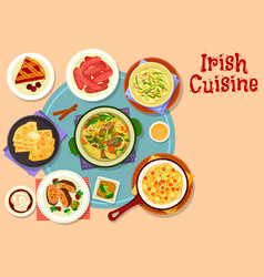 irish cuisine traditional dinner with dessert icon vector image vector image