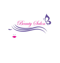 beautiful woman face logo template for hair vector image