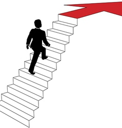 Business man climbs up arrow stairs vector image vector image
