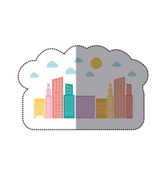 colorful builds with small cloud and sun vector image vector image