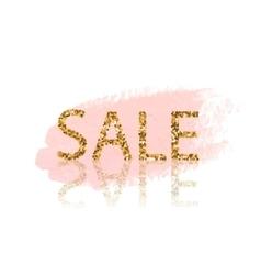 Golden Sale lettering Pastel pink watercolor vector image