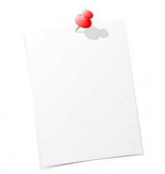 Note paper with pin vector
