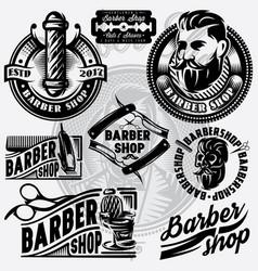 set of templates for barbershop barbershop logo vector image vector image