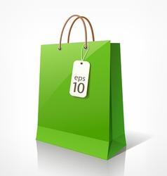 Shopping green bag vector image vector image