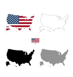USA country black silhouette and with flag on vector image