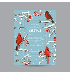 Winter birds and berries frame or card vector