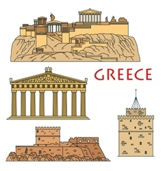 Ancient greek travel landmarks thin line icons vector image vector image