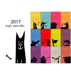 funny dogs calendar 2017 design vector image vector image