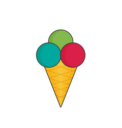 ice cream in color flat icon style vector image vector image