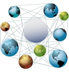 Join Earth world colors in global network vector image vector image