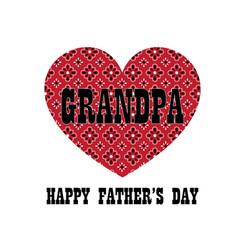 Red bandana heart grandpa fathers day vector