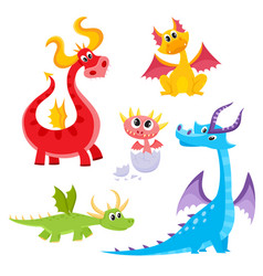 set of funny colorful cartoon dragon characters vector image vector image