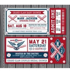 Set of vintage baseball tickets vector
