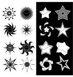star and sun symbols vector image