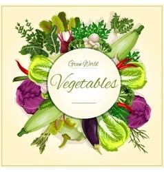 Vegetable mushroom and salad leaf poster design vector image