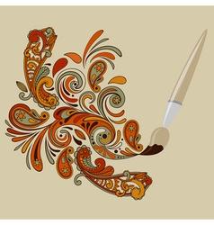 cartoon brush painting floral swirls vector image