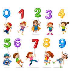 children and balloons one to nine vector image vector image
