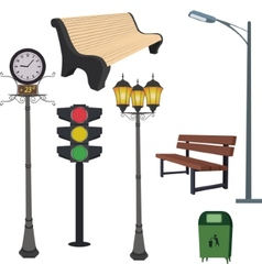 City objects- dustbin lamppoststreet hours vector image
