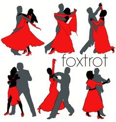 foxtrot dancers silhouettes set vector image vector image