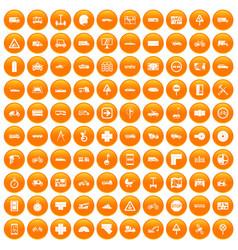 100 location icons set orange vector