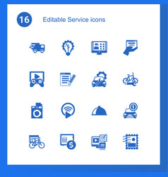 16 service filled icons set isolated on icons vector