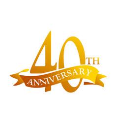 40 year ribbon anniversary vector image