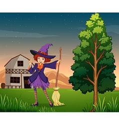 A pretty witch at farm vector