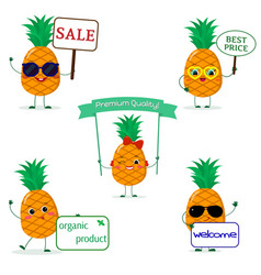 A set of five pineapples smiley in different poses vector