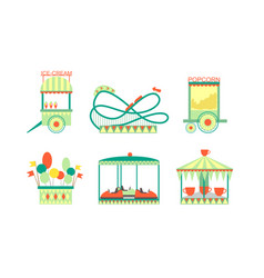 Amusement park attractions icons set roller vector