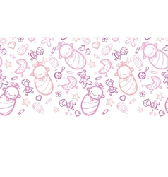 Baby girls horizontal seamless pattern background vector image