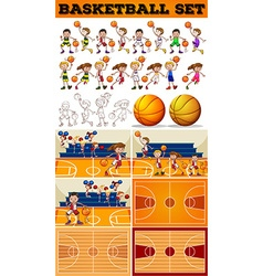 Basketball set with players and courts vector image