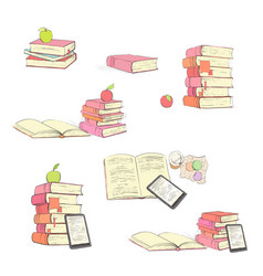 Beautiful educational books on white background vector