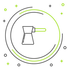 Black and green line coffee turk icon isolated on vector