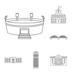 building and architecture outline icons in set vector image