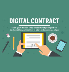 business digital contract concept banner flat vector image