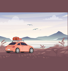 car with travel bags near vector image